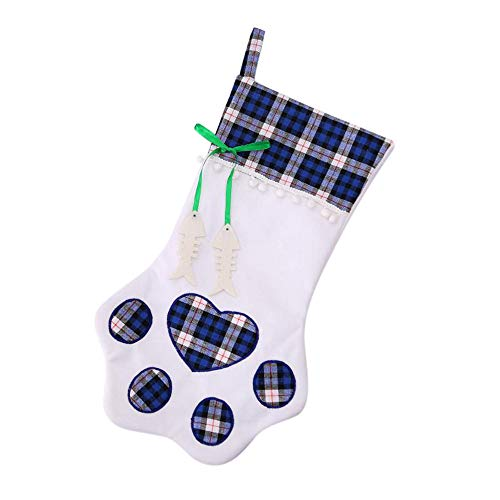 Clearance Sale!UMFun Plaid Christmas Gift Bags Pet Dog Cat Paw Stocking Socks Xmas Tree Ornaments 28x46cm -