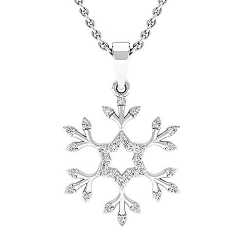 Dazzlingrock Collection 0.15 Carat (ctw) 14K Round White Diamond Snowflake Ladies Pendant (with Silver Chain), White Gold