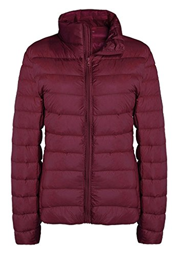 ZSHOW Women's Outwear Down Coat Lightweight Packable Powder Pillow Down Jacket, US Small, Wine Red