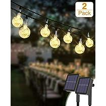 Guirnaldas Luces Exterior Solar [2 Pack], Kolpop 3M 30LED Cadena de Bola Cristal Luz, Guirnalda Solar LED Bola de Cristal