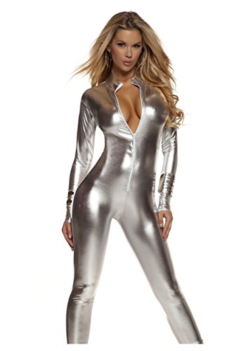 Forplay Women's Metallic Zip Front Mock Neck Catsuit, Silver, Medium/Large