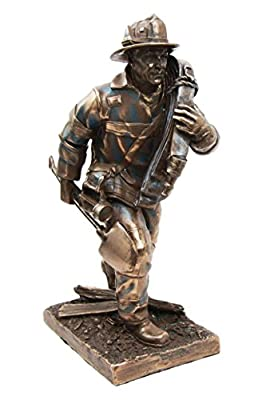 "Atlantic Collectibles Fireman Carrying Shovel and Hose Pipe To Fire Emergency Scene Decorative Figurine 7.5"" Tall"