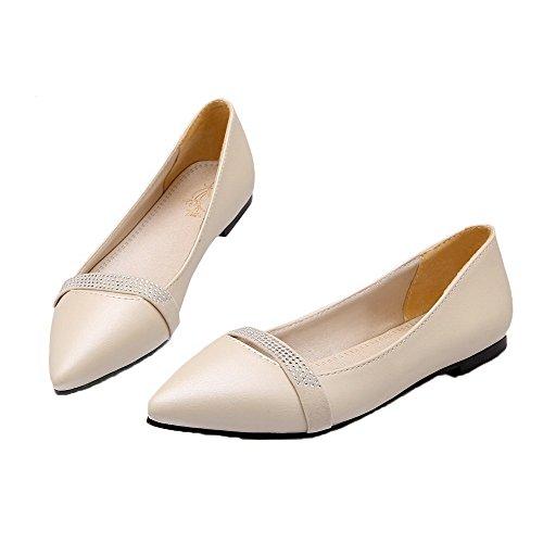 Beige Zapatos on Bajo Mujeres Pu Puntera Aalardom De Cerrada Slip Tacón OvqCxgp
