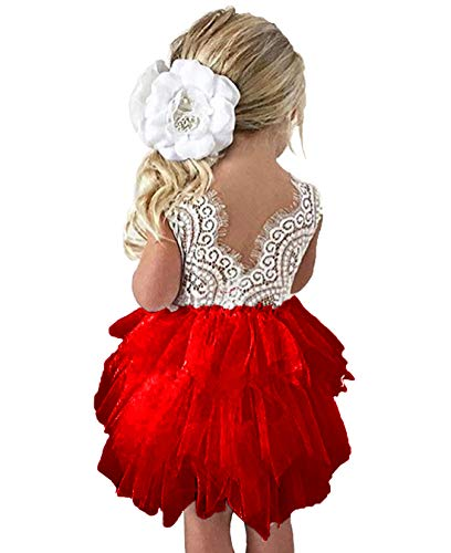 - lymanchi Toddler Baby Lace Back Tiered Tutu Tulle Backless Flower Girls Dress Red 90cm