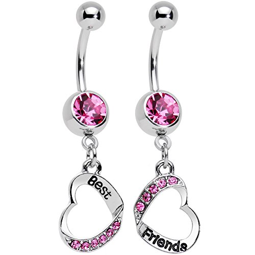 Body Candy Stainless Steel Rosy Pink Accent Best and Friends Matching Heart Dangle Belly Ring Set