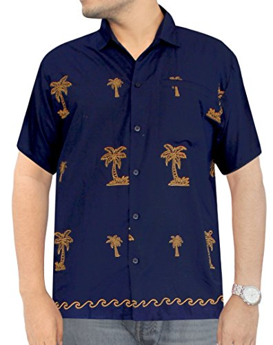 Buy cheap La Leela Smooth Rayon retro Sale Silk Camp Couple Loose Floral relaxed Big and Tall Printed Beach Vacation Brown Big Palm Tree Navy Blue 5XL