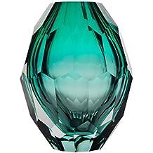 CASAMOTION Home Decor Accent Vase Diamond Shape Solid Color Hand Blown Art Glass Vase, Turquoise