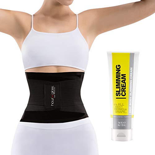9b350ba8f1 Slim Abs Waist Trainer Sweat Belt with Slimming Cream – Waist Trimmer for  Women and Thermogenic Workout Gel (Black