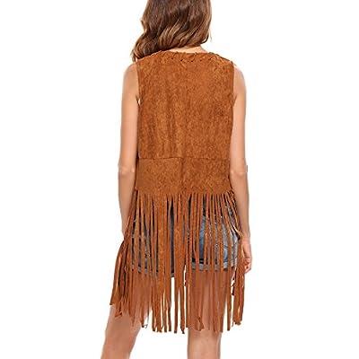 Hotouch Women Fringe Vest Faux Suede Tassels 70s Hippie Clothes Open-Front Sleeveless Vest Cardigan Female at Women's Coats Shop