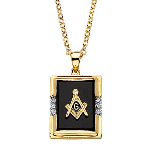 Men's Emerald-Cut Genuine Black Onyx 14k Gold-Plated Masonic Pendant Necklace 20