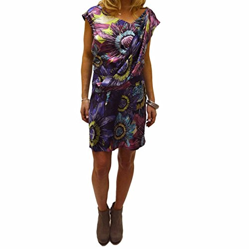 Ali Ro Silk - Ali Ro Womens Floral Drop-Waist Dress Purple 12