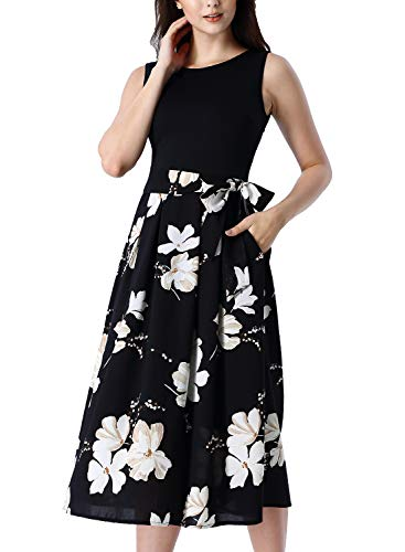 (VFSHOW Womens Summer Black Floral Print Patchwork Pockets Pleated Work Casual A-Line Midi Dress 2889 BLK XXL)