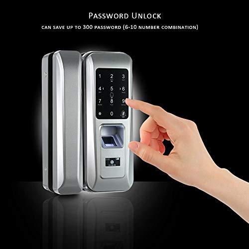 Walmeck Fingerprint & Touchscreen Smart Lock Digital Lock for Double Open Glass Door Fingerprint Lock Electronic Keyless Touch-screen Door Lock Fingerprint Door Lock for Glass Door by Walmeck (Image #1)