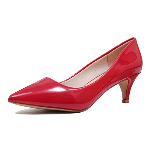 Classic Deco Womens Shoes Dress Shoes Embellished red Pointy Kitten Toe Pump Guilty patent 16 Heeled Elegant Heel Sandals Low Closed xE5IqEFw