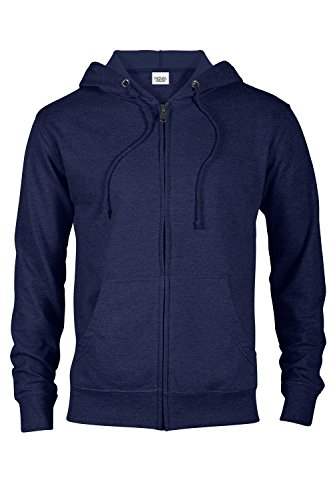 Zip Front French Terry Jacket - Casual Garb Hoodies for Men Heather French Terry Full Zip Hoodie Hooded Sweatshirt Navy Large