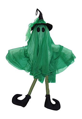 Animated Talking Ghost in Witch Hat Halloween Decoration (Green) (Talking Halloween Decorations)