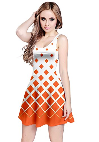 Dress Gradient Womens Sleeveless Rhombuses Reversible Orange CowCow XxPq66