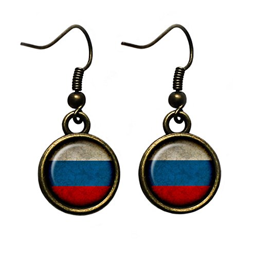 Russia Russian Россия Flag Antique Bronze Earrings