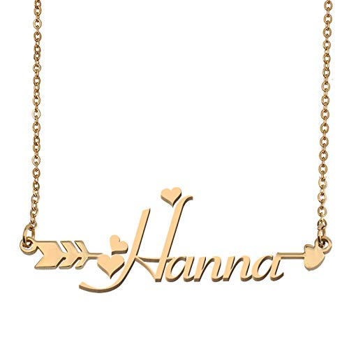 Aoloshow Customized Custom Name Necklace Personalized - Custom Hanna Initial Name Arrow Horizontal Monogrammed Necklace Gift Womens Girls