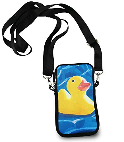 Casual Security Pack Crossbody Phone Pouch With Shoulder Strap Wallet Handbag Yellow Rubber Duck Painting art -