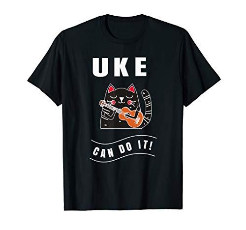 Ukulele TShirt Funny Uke Can Do It Cat Playing Shirt Gift