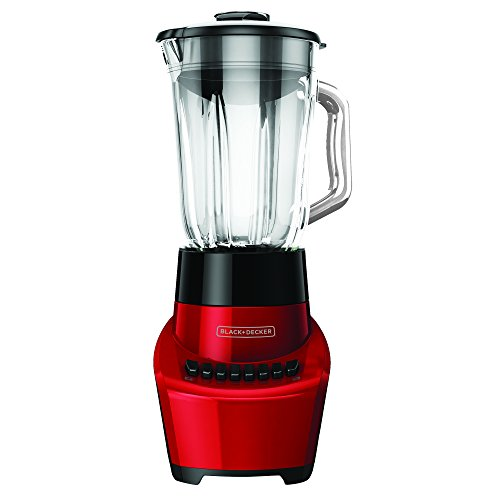 BLACK+DECKER BL1110RG FusionBlade Blender with 6-Cup Glass Jar, 12 Speed Settings, Red