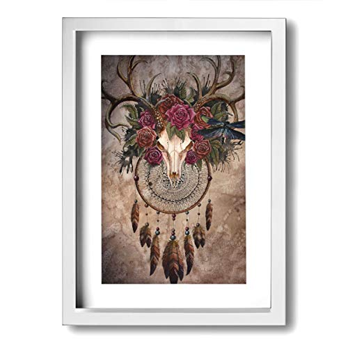 Framed Turquoise Earrings - Xinyi Online New Wall Art Painting Picture Dream Catcher Home Decor Framed Painting for Office, Bar, Living Room, Bedroom Wall Decor 9.45x13(in)
