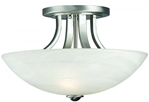 (Dolan Designs 204-09 3Lt Satin Nickel Fireside 3 Light Semi Flushmount,)