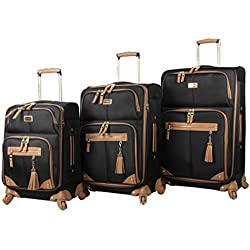 Steve Madden Luggage 3 Piece Softside Spinner Suitcase Set Collection (One Size, Harlo Black)