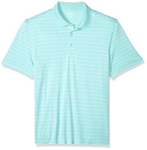 Amazon Essentials Men's Regular-Fit Quick-Dry Stripe Golf Polo Shirt, Aqua, Large ()