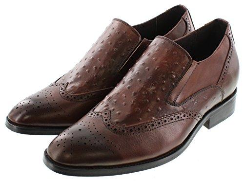 Calden–k62623–7,1cm Grande Taille–Hauteur Augmenter Chaussures ascenseur (Marron à Enfiler en Cuir Bas)