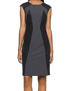 Calvin Klein Black Women's Faux Suede Sheath Dress Gray 8