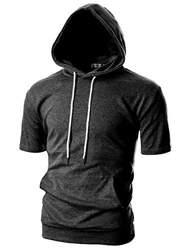 OHOO Mens Slim Fit Short Sleeve Lightweight Hoodie with Kanga Pocket/DCF013-CHARCOAL-L (Sleeve For Hoodies Men Short)