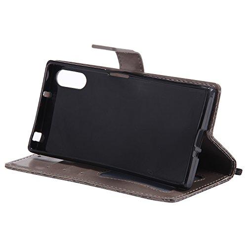 Etui Magnetique Téléphone XZ de Coque Pochette Coque Cuir XZ XZ Protection Coque Housse de Xperia Herbests pour en en Cuir Xperia Sony Stand Fonction Sony Housse Xperia avec Etu Gris Sony Portefeuille pour xYAwA