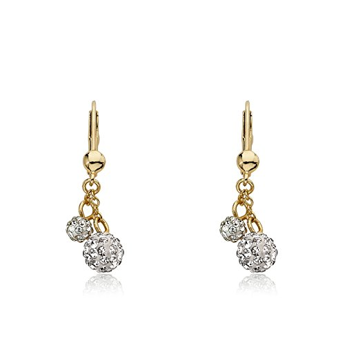 Molly Glitz Glitz Blitz 14k Gold-Plated 2 White Crystal Balls Lariat Leverback Earring