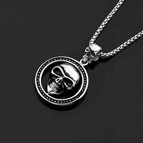 Generic Japan Korea personalized fashion _skeleton_skull_ ring man boy _punk_hip-hop_ necklace Pendant ornaments women girl long necklace Pendant _steel by Generic
