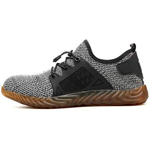 Shiretel Breathable Shoes Womens Mens Safety Toe Work Hiking Trainers Boots Shoes Grey