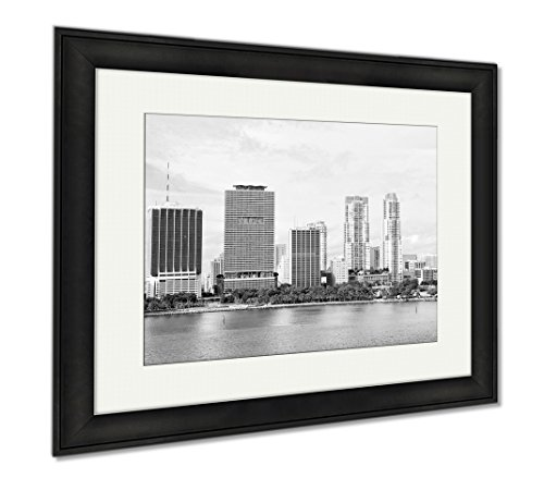 Ashley Framed Prints Miami Seascape With Skyscrapers In Bayside Downtown, Wall Art Home Decoration, Black/White, 26x30 (frame size), Black Frame, - Beach Bayside Miami