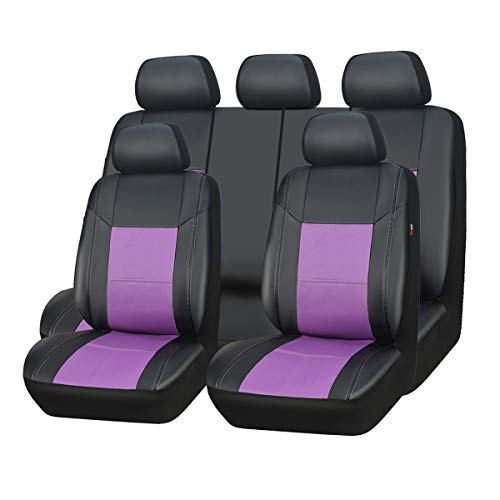 (New arrival- car pass skyline PU leather car seat covers - universal fit for cars, SUV, vehicles (11pcs, black with purple))