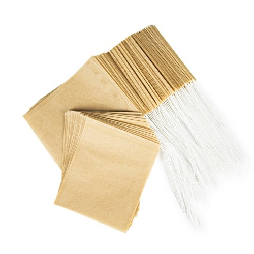 BetyBedy Tea Filter Bags, Disposable Tea Infuser, Safe & Natural Material, 1-Cup Capacity, Drawstring Empty Bag for Loose Leaf Tea, Set of 100 (3.15 x 3.94 inch )