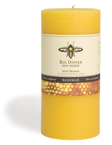 Candle Beeswax Pillar (Long-lasting Hand-cast 100% Pure Beeswax Candle, 3 inch x 6 inch Beeswax Pillar - Natural)