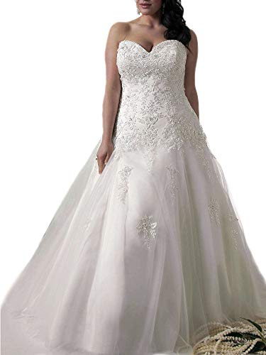 WeddingDazzle Applique Wedding Bridal Long Plus Size Wedding Dresses for Bride 26W White