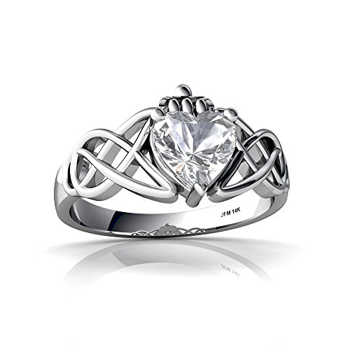 (14kt White Gold White Topaz 6mm Heart Claddagh Celtic Knot Ring - Size 5)