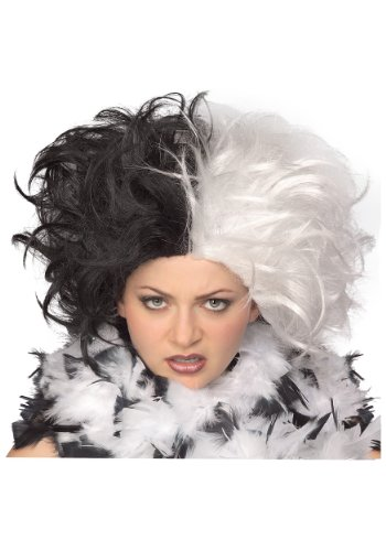 Black Costumes Wigs (Rubie's Costume Ms. Spot Wig, Black/White, One Size)