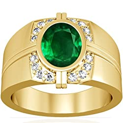 18K Yellow Gold Oval Cut Emerald Men's Ring (GIA Certificate)