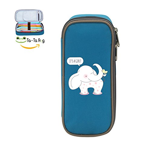 Durable Cartoon Little White Elephant and Birdie Big Capacity Canvas Pencil Case For Boy's&Girl's School blue ()