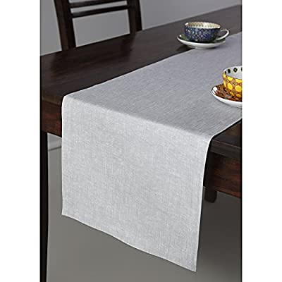 Solino Home 100% Pure Linen Table Runner - 14 x 120 Inch, Tesoro Runner, Natural and Handcrafted from European Flax - Light Graphite - Handcrafted by skilled Artisans from 100% European Flax Size - 14 x 120 Inch Easy Care - Machine Washable, Low Iron as Needed - table-runners, kitchen-dining-room-table-linens, kitchen-dining-room - 41E VXgi69L. SS400  -