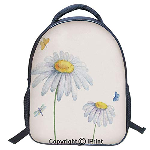 Designer Original Art Print Casual Backpack,Travel Backpack 16Inch Laptop Bag,16 inch,Chamomiles Moths Dragonflies Refreshing Nature Template Print with Soft Colors ()