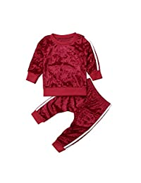 GOOCHEER 2 Pcs Fashion Toddler Kids Baby Girls Velvet Clothes Outfit Pant Set