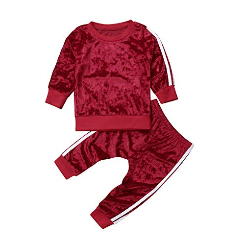 2 Pcs Fashion Toddler Kids Baby Girls Velvet Clothes Outfit Pant Set Fall Winter (3-4 Years, Red)